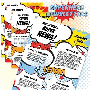 Classroom Newsletter Template  Superhero Newsletter  Ms Word