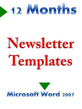 Classroom Newsletter Templates  12 Months in Microsoft Word 2007