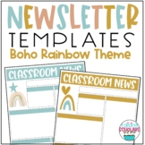 Classroom Newsletter Templates Boho Rainbow Theme EDITABLE