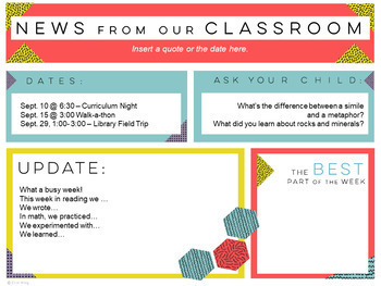 Classroom Newsletter Templates: Geometric Style