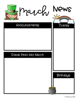 Classroom Newsletter Templates - 12 Monthly Designs