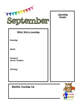 Classroom Newsletter Templates- Owl Themed