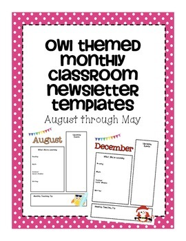 Classroom Newsletter Templates- Owl Themed