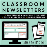 Classroom Newsletter Templates: Stick To It! Growth Mindset Style