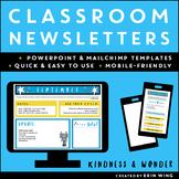 Digital Classroom Newsletter Templates (Editable): Kindnes