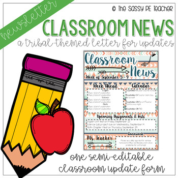 Classroom Newsletter - Tribal Theme