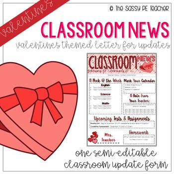 Classroom Newsletter Valentine S Day By The Sassy Pe Teacher Tpt