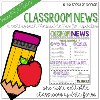 Classroom Newsletter - Volleyball Theme