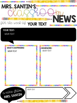 Classroom Newsletter - Watercolor Rainbow Dot EDITABLE