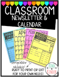 Classroom Newsletter and Calendar Completely *EDITABLE*