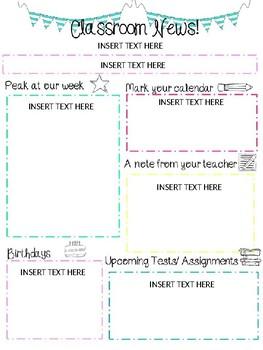 Classroom Newsletter in English & Spanish ( Editable)