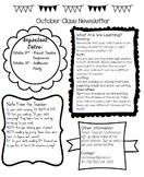 Classroom Newsletter with Calendar (Template)