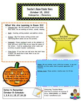 Classroom Newsletters (12 monthly templates)