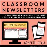 Classroom Newsletters Confetti Style: Editable Templates