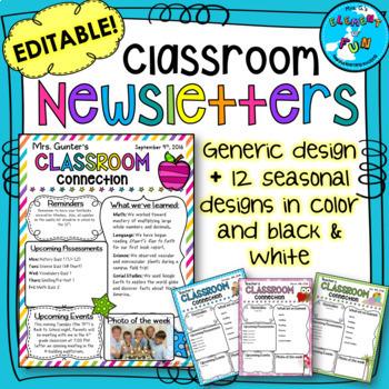 Classroom Newsletters - Editable Seasonal Templates
