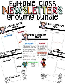 Classroom Newsletters Growing Bundle