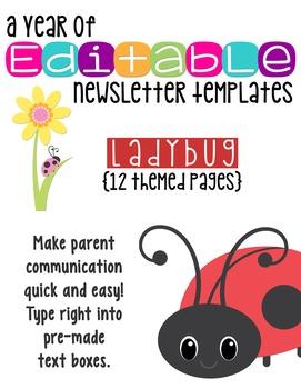 Editable Newsletter Templates (10 included): Ladybug Theme