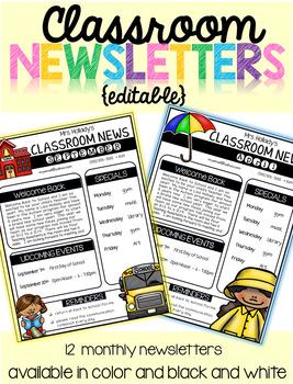 Classroom Newsletters {editable}