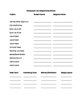 Classroom Newspaper Project Forms