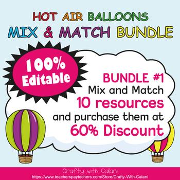 Classroom Voice Level Clip Chart in Hot Air Balloons Theme - 100% Editble