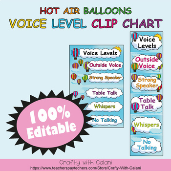 Classroom Voice Level Clip Chart in Hot Air Balloons Theme - 100% Editble