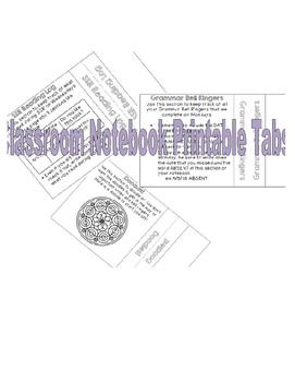 Classroom Notebook Printable Tabs