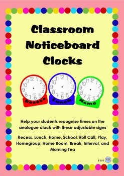 Classroom Noticeboard Wall Clocks - Classroom Setup - Time Breaks