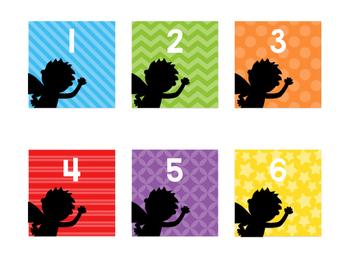 Classroom Number Labels FREEBIE-Superhero Rainbow Silhouette Edition-