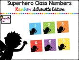 Classroom Number Labels FREEBIE-Superhero Rainbow Silhouet