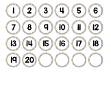 Classroom Number Labels Rainbow 1-20