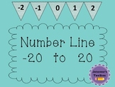Classroom Number Line -20 to 20 (chevron / chalkboard size)
