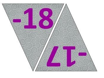 Classroom Number Line -20 to 20 (grey swirls / chalkboard size)