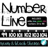 Classroom Number Line: Neon & Black