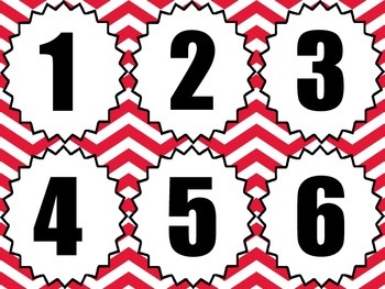 Classroom Number Line - Red Chevron
