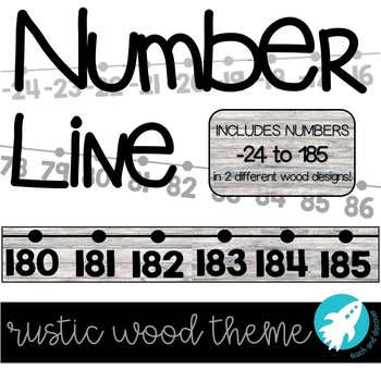 Classroom Number Line: Rustic Wood