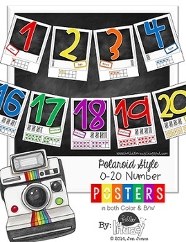 Classroom Number Poster Set 0-20 {Polaroid Style}
