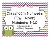 Classroom Number Posters 1-20 (Owl Decor)
