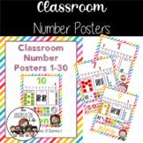 Classroom Number Posters 1-30, tallies, base 10, ten frames+ Meloheadz art