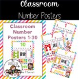 Classroom Number Posters 1-30, tallies, base 10, ten frame
