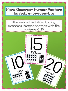 Classroom Number Posters 10 - 20