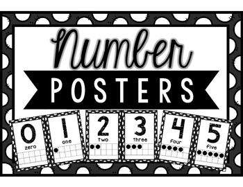 Classroom Number Posters: Black & White Polka Dots