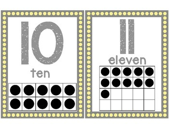 Classroom Number Posters: Gray and Yellow Dots
