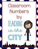 Classroom Number Printables- Navy Polka Dots