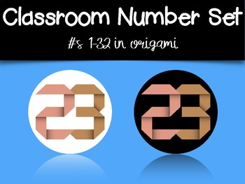 Classroom Number Set: Origami Numbers
