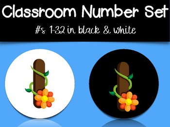 Classroom Number Set: Plant Font