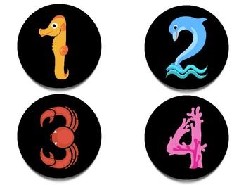 Classroom Number Set: Sea Animal Numbers
