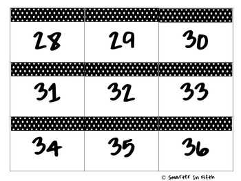 Classroom Number Tags 1-36