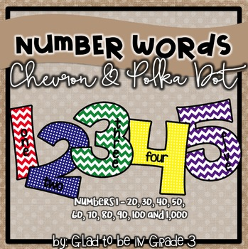 Classroom Number Words ~ Chevron and Polka Dot