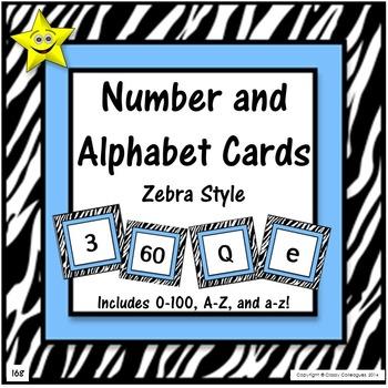 Number and Alphabet Cards, Zebra