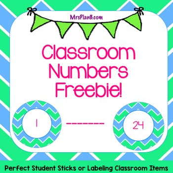 Classroom Numbers 1-24 Freebie (Blue and Green)